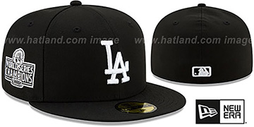 Dodgers '2020 WORLD SERIES' CHAMPIONS Black-White Fitted Hat by New Era