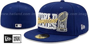 Dodgers '2020 WORLD SERIES' CHAMPIONS TROPHY Royal Fitted Hat by New Era