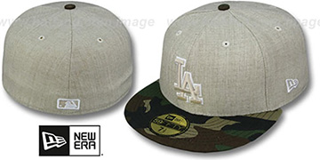 Dodgers 2T-HEATHER Oatmeal-Army Fitted Hat by New Era