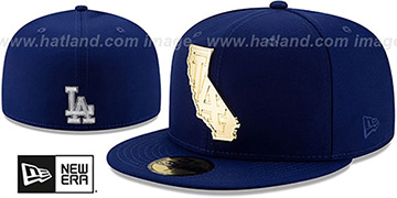 Dodgers 'ALL GOLD STATED METAL-BADGE' Royal Fitted Hat by New Era