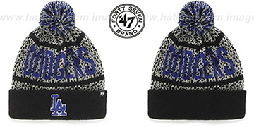 Dodgers 'BEDROCK' Black-Grey Knit Beanie Hat by Twins 47 Brand