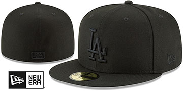 Dodgers BLACKOUT Fitted Hat by New Era