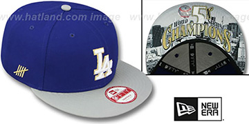 Dodgers CHAMPS-HASH SNAPBACK Royal-Grey Hat by New Era