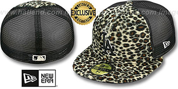 Dodgers CHEETAH 'ANIMAL-FUR MESH-BACK' Fitted Hat by New Era