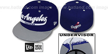 Dodgers CITY-SCRIPT Royal-Grey Fitted Hat by New Era