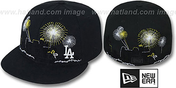 Dodgers 'CITY-SKYLINE FIREWORKS' Black Fitted Hat by New Era