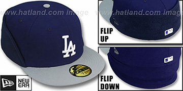 Dodgers CLEAN CUT FLIP-DOWN Royal-Grey Fitted Hat by New Era