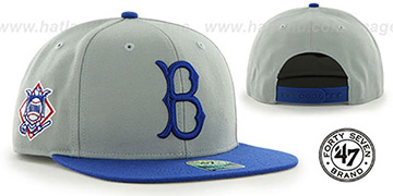 Dodgers COOP 'SURE-SHOT SNAPBACK' Grey-Royal Hat by Twins 47 Brand