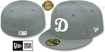 Dodgers 'D TEAM-BASIC' Grey-White Fitted Hat by New Era
