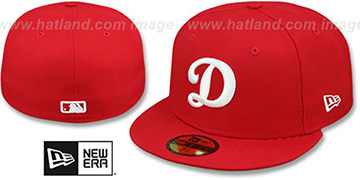 Dodgers 'D TEAM-BASIC' Red-White Fitted Hat by New Era