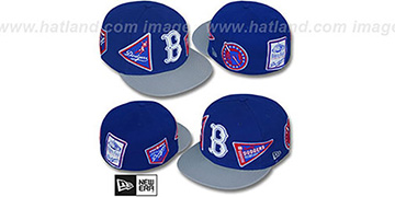 Dodgers DEEZ PATCHES Royal-Grey Fitted Hat by New Era