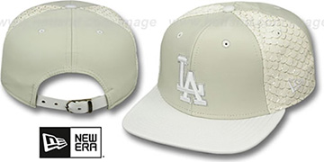 Dodgers FISHSCALE LEATHER STRAPBACK Hat by New Era