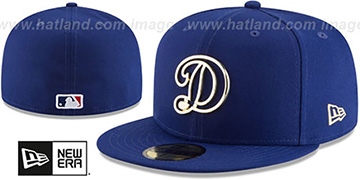 Dodgers GOLD FRAMED METAL-BADGE Royal Fitted Hat by New Era