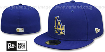 Dodgers GOLD METALLIC STOPPER Royal Fitted Hat by New Era
