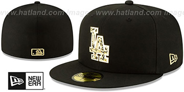 Dodgers GOLD SHATTERED METAL-BADGE Black Fitted Hat by New Era