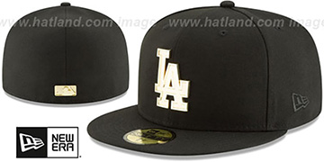 Dodgers GOLDEN-BADGE Black Fitted Hat by New Era