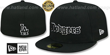 Dodgers 'GOTHIC TEAM-BASIC' Black Fitted Hat by New Era