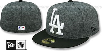Dodgers HEATHER-HUGE Grey-Black Fitted Hat by New Era