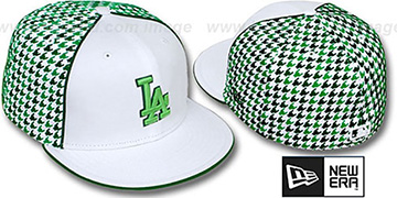 Dodgers 'HOUNDSTOOTH' White-Green Fitted Hat by New Era