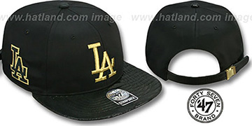 Dodgers 'JULIGUNK STRAPBACK' Black-Gold Hat by Twins 47 Brand