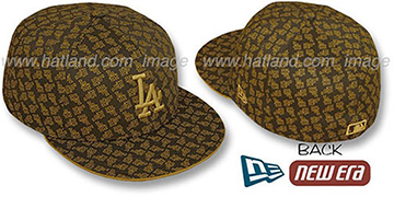 Dodgers LA 'ALL-OVER FLOCKING' Brown-Wheat Fitted Hat by New Era