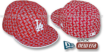 Dodgers LA 'ALL-OVER FLOCKING' Red-White Fitted Hat by New Era