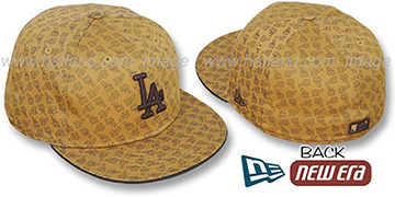 Dodgers LA 'ALL-OVER FLOCKING' Wheat-Brown Fitted Hat by New Era