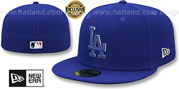 Dodgers LEATHER POP Royal Fitted Hat by New Era