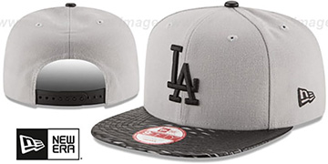 Dodgers LEATHER-RIP SNAPBACK Grey-Black Hat by New Era