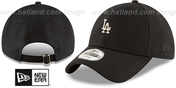Dodgers 'MINI GOLD METAL-BADGE STRAPBACK' Black Hat by New Era