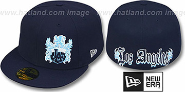 Dodgers 'OLD ENGLISH SOUTHPAW' Navy-Baby Blue Fitted Hat by New Era