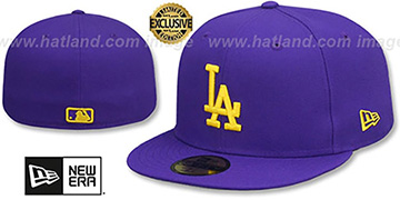 Dodgers OPPOSITE-TEAM Purple Fitted Hat by New Era