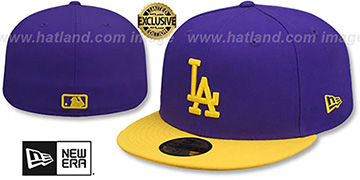 Dodgers 'OPPOSITE-TEAM' Purple-Gold Fitted Hat by New Era
