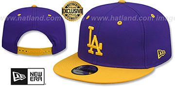 Dodgers 'OPPOSITE-TEAM SNAPBACK' Purple-Gold Hat by New Era
