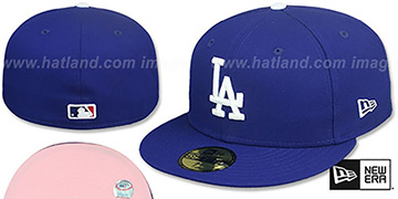 Dodgers PINK-BOTTOM Royal Fitted Hat by New Era