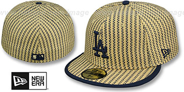 Dodgers PINSTRIPE WEAVE Tan-Navy Fitted Hat by New Era