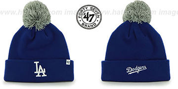 Dodgers 'POMPOM CUFF' Royal Knit Beanie Hat by Twins 47 Brand