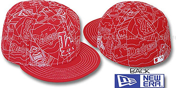 Dodgers 'PUFFY REMIX' Red-White Fitted Hat by New Era