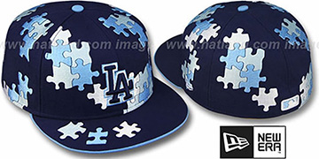 Dodgers 'PUZZLE' Navy Fitted Hat by New Era