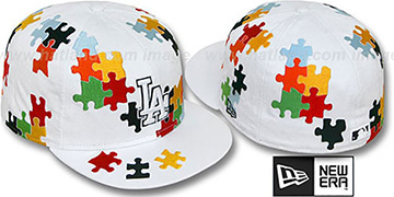 Dodgers 'PUZZLE' White Fitted Hat by New Era