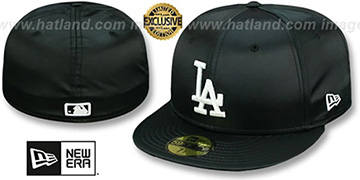 Dodgers SATIN BASIC Black Fitted Hat by New Era