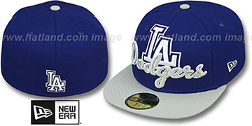 Dodgers SCRIPT-PUNCH Royal-Grey Fitted Hat by New Era