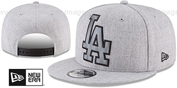 Dodgers SILKED-XL SNAPBACK Heather Light Grey Hat by New Era
