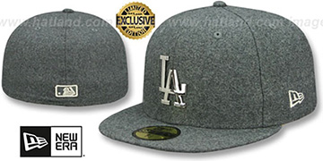 Dodgers 'SILVER METAL-BADGE' Melton Grey Fitted Hat by New Era
