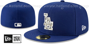 Dodgers SILVER SHATTERED METAL-BADGE Royal Fitted Hat by New Era