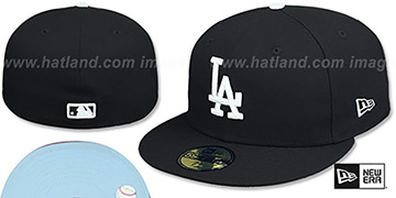 Dodgers SKY-BOTTOM Black Fitted Hat by New Era
