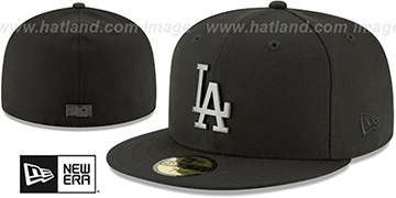 Dodgers SLEEKED BLACK METAL-BADGE Black Fitted Hat by New Era