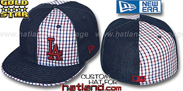 Dodgers 'SOUTHPAW SLUGGA' Plaid-Navy Denim Fitted Hat by New Era