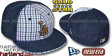 Dodgers 'SPANKY' Plaid-Navy Denim Fitted Hat by New Era