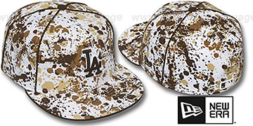 Dodgers SPLATTER White-Brown Fitted Hat by New Era